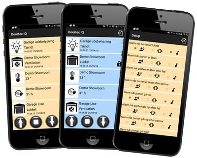 EyeQ garageportåbner på mobilen