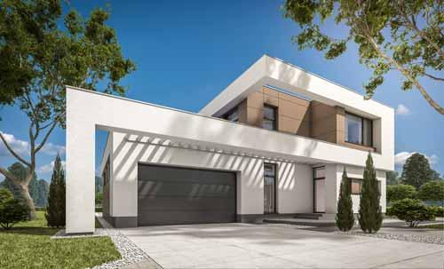 Garageport moderne L-profil design